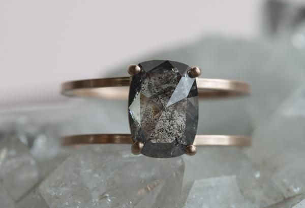One of a Kind Natural Rose Cut Salt + Pepper Diamond Ring- double band                                     – Alexis Russell