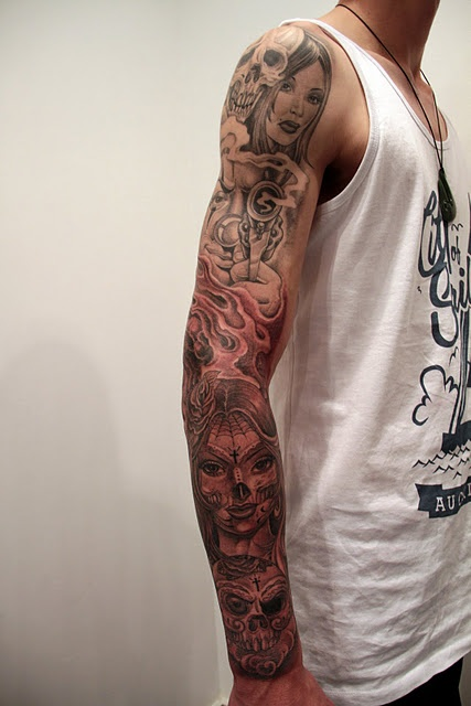 day of the dead tattoo mr cartoon tattoos pinterest sleeve day of the dead and the o 39 jays. Black Bedroom Furniture Sets. Home Design Ideas