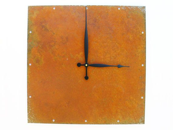 Square Wall Clock Extra Large Rusted Modern Wall Clock by All15Designs on Etsy