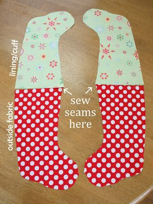 super easy sewing tutorial for making a lined Christmas stocking - with or without a cuff. free printable pattern/template.