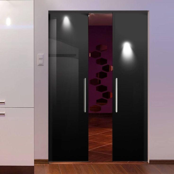 Eclisse 10mm Gloss Black Colour Glass Syntesis Double Pocket Door - 9005 & 91 best Syntesis line double frameless glass pocket doors images ... Pezcame.Com