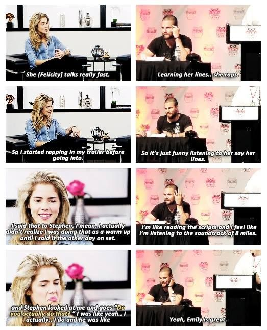 Stephen Amell and Emily Bett Rickards. It's never enough to ship two characters i have to ship the actors as well
