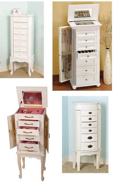 Jewelry Storage idea:  paint jewelry armoire a diff color than the lame mahogany.