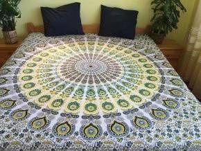 Bavlněná mandala, dekorace na zeď - XXL přehoz na postel, jóga podložka, páv, tapisérie, doprava zdarma