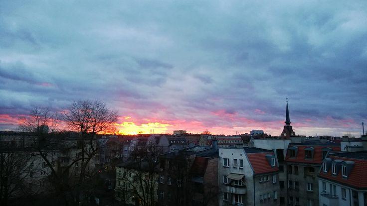 fot.Krzysztof Sadowski: Zachód słońca nad Jeżycami.