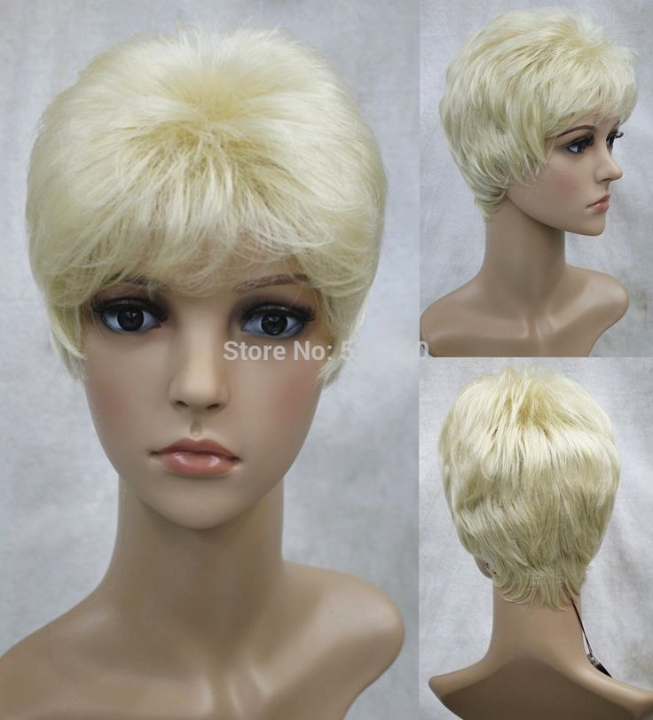 Stunning Synthetic short very light blonde wig real hair like  Free shipping
