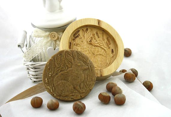 Easter Present Rabbit Wood Carving Mould Cookies Stamp