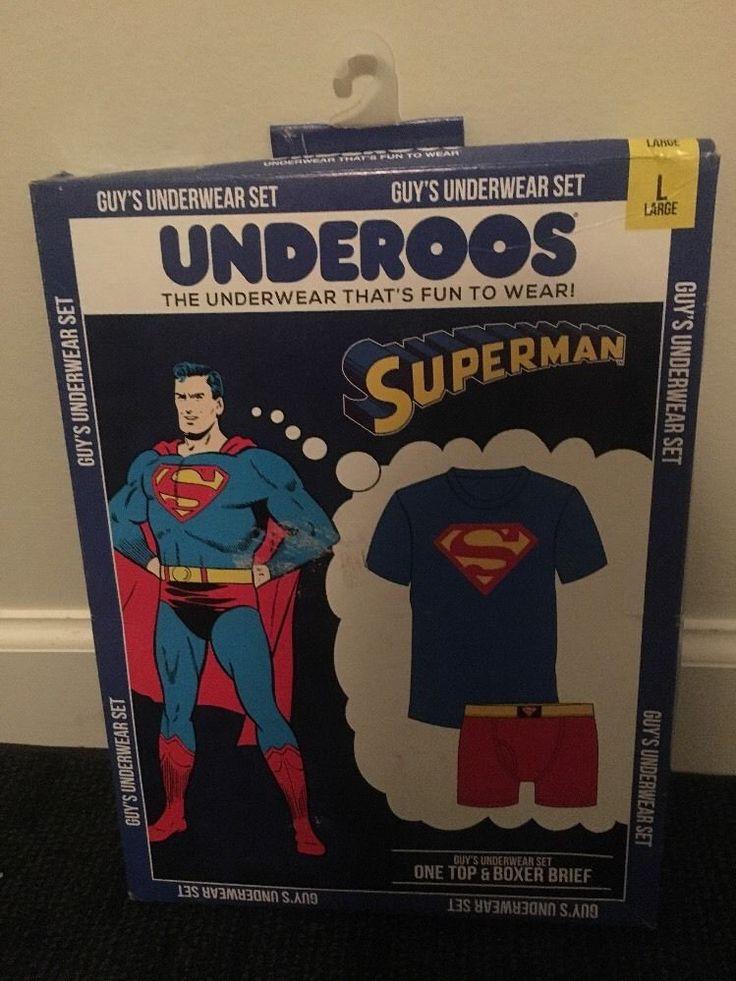 SUPERMAN UNDEROOS Guys Underwear Set Top Boxer Brief Sz L Clothes #Boxer