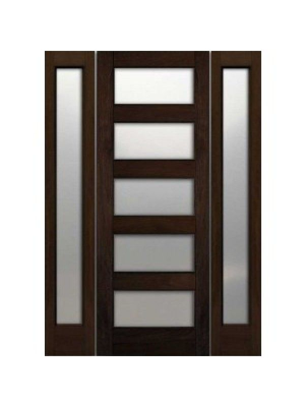 Exterior Door With Two Sidelites Contemporary Exterior Single Door And Two Sidelights Mahogany