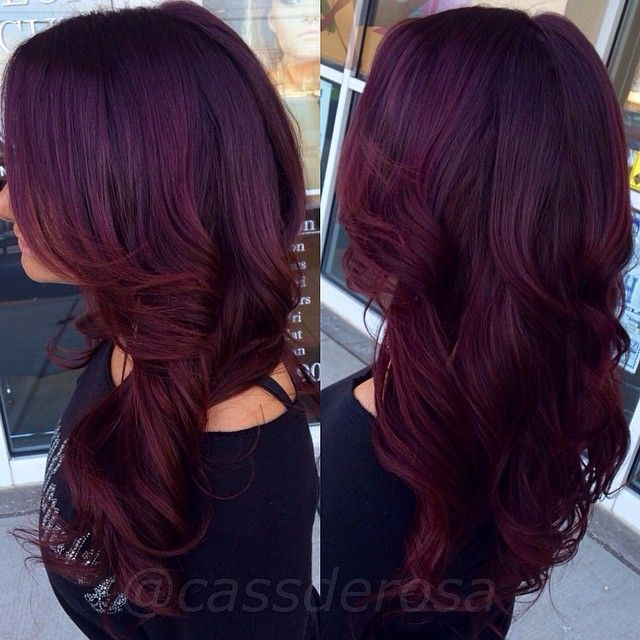 Hair inspiration for aubergine and red hair.