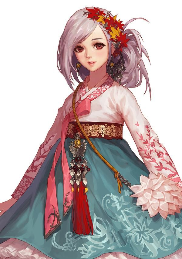 Hanbok illustration | 한복 Hanbok : Korean traditional clothes[dress] : 던파 세리아 한복…