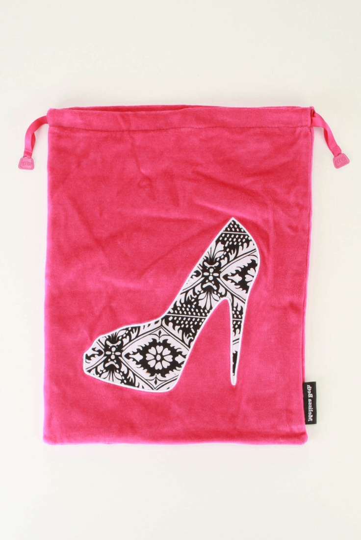 Shoe Bag In Hot Pink. Great for keeping your dirty shoes off the rest of the stuff in your suitcase