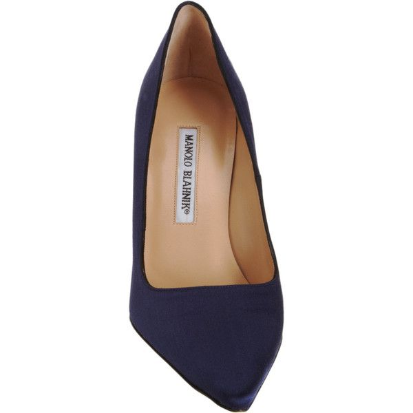 Manolo Blahnik Women's BB Pumps (13.600 RUB) ❤ liked on Polyvore featuring shoes, pumps, heels, обувь, navy heeled shoes, pointy toe pumps, manolo blahnik pumps, slip-on shoes and high heeled footwear