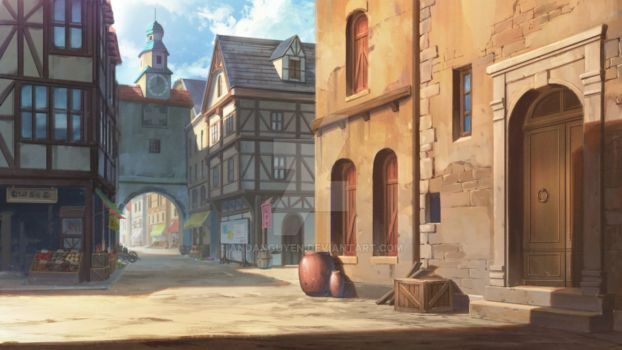 Medieval town by andanguyen Cenário anime Castelo da fantasia Paisagem fantasia