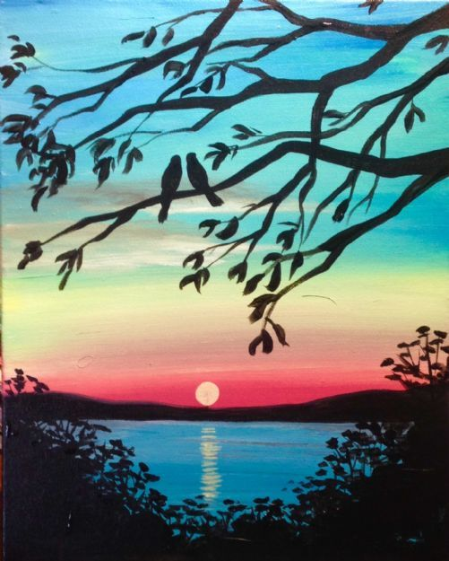 Sunset Over The Lake With Tree Branches Beginner Painting Idea Paintings