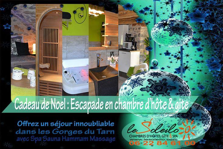 Trouvez une idée cadeau de Noel pas chère, originale et insolite. Offrez une nuit insolite en chambre d'hôte avec spa jacuzzi ou gîte avec sauna ! Une idée de cadeau original pour Noël en chambre d'hôte dans les Gorges du Tarn Sud Aveyron Lozère Occitanie. Le Soleilo, chambres d'hôte, gîte et spa 4 épis Gorges du Tarn  http://www.lesoleilo.com/fr/gite-loft-cocoon-et-spa Canoé Aqua Soleil Eau http://www.canoe-soleileau.com/fr/aquasoleileau/canoe-kayak-vivez-laventure