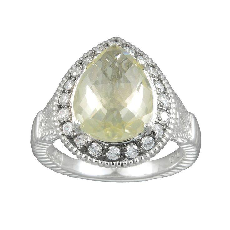 Siri USA by TJM Sterling Silver Lemon Quartz and Cubic Zirconia Teardrop Frame Ring, Women's, Size: 8, Yellow