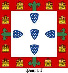 2ª DINASTIA - de AVIS - Bandeira do Rei de Portugal D. JOÃO I (1357-1433), O de Boa Memória - Bandeira pessoal de D. João I com a sua divisa: «Pour bien». Brasão de armas de Dom João I de Portugal