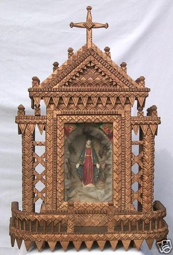 Exceptional large very detailed super Tramp Art Shrine. #Tramp