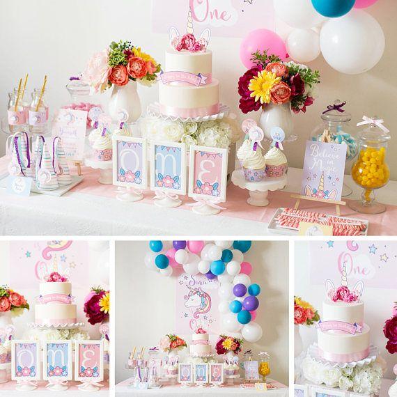 Decorazioni festa unicorno, Unicorn compleanno decorazione per una festa, festa dell'unicorno, Unicorn Party Kit, tema compleanno ragazza, file ad alta risoluzione PDF