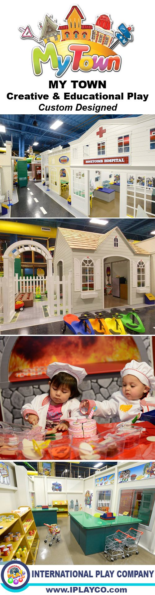 MY TOWN has now arrived. My Town is a creative and education play pretend village. All custom designed. Great addition to a family entertainment center, or a business on its own. Contact us for more information. #weCREATEfun and #weBUILDfun - Iplayco has been creating fun since 1999.