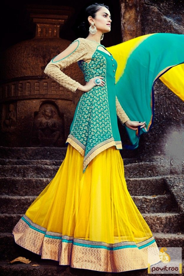 Fancy aqua blue yellow net chiffon anarkali lehenga suit for reception online shopping collection in low cost. Buy wedding lehenga suits and designer salwar kameez only at pavitraa.in. #salwarsuit, #anarkalisuit more: http://www.pavitraa.in/store/anarkali-salwar-suit/