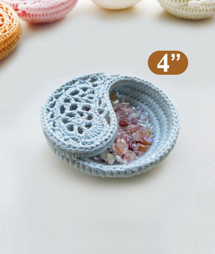 """CROCHET PATTERN - 4"""" yin yang jewelry dish, Crochet basket photo tutorial. Trinket plate.  The 4"""" dish, very small, very cute… These dishes are crocheted on rope, which makes them firm yet delicate looking. The Yin yang dish is great as decorative every purpose storage bowl for tiny objects such as jewelry, keys, treasures…"""