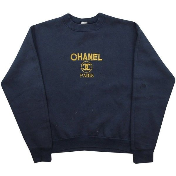 Vintage Bootleg Chanel Sweatshirt Size Small Grubby Mits ($67) ❤ liked on Polyvore featuring tops, hoodies, sweatshirts, shirts, sweaters, blue shirt, embroidered top, shirt top, blue embroidered top and blue top