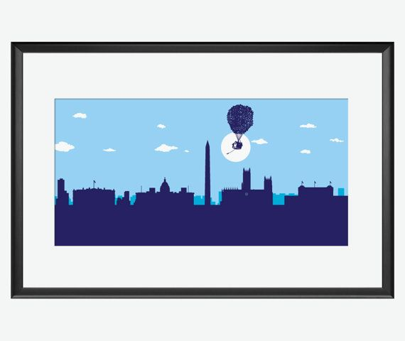 Washington skyline print, Up pixar movie inspired print, Washington print, Washington poster, Up pixar print, nursery wall art, Up movie. This