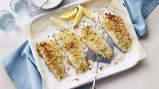 Make sure your fish supper packs a crunch with a tasty tarragon and Parmesan crust. Serve with new potatoes and greens. This recipe works equally well with trout fillets or lemon sole.