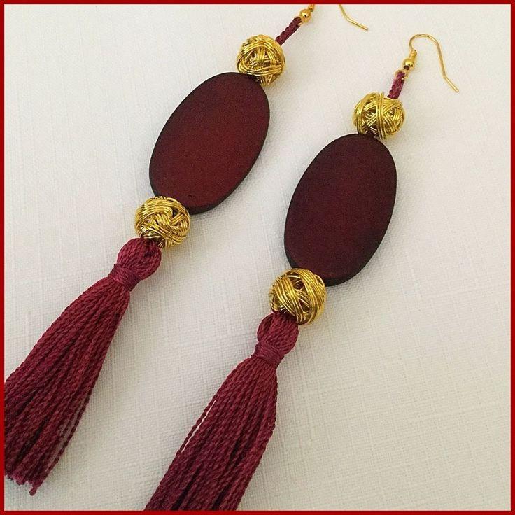 Burgundy & Gold Bead & Tassel Earrings Handmade New