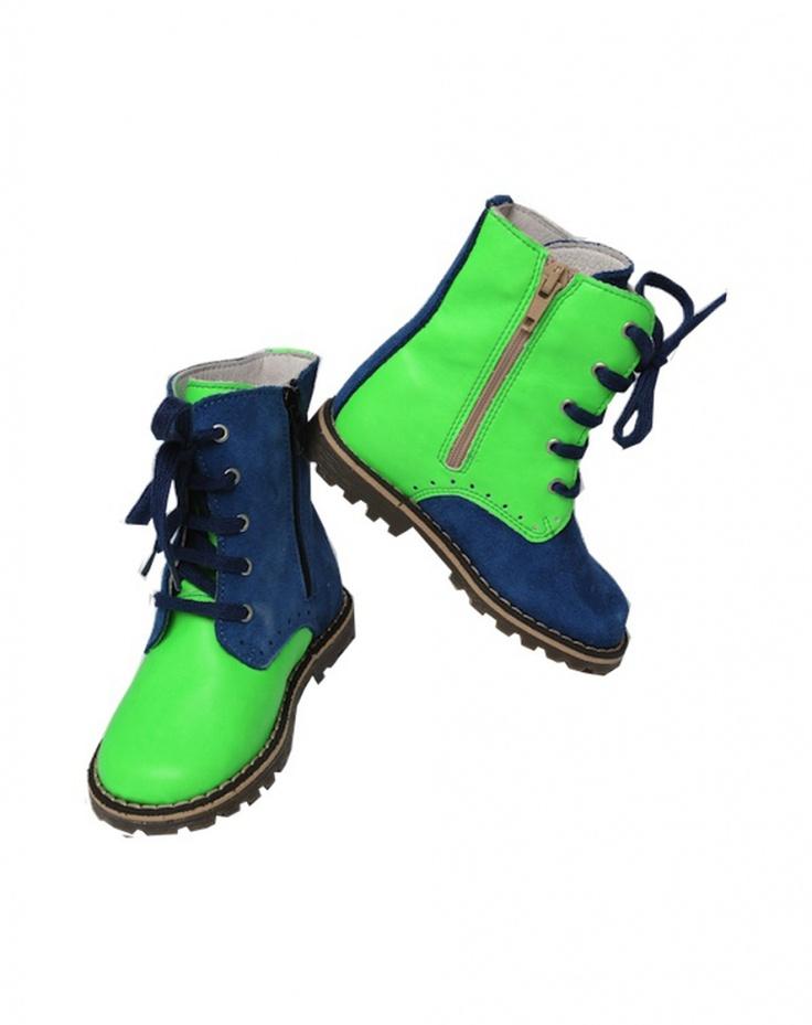 Boots laces blauw-groen Chat Méchant Schoenen Jongen