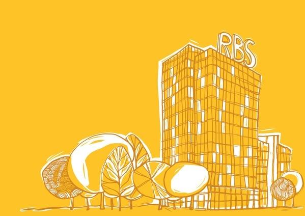 broschure illustrated RBS Bank by Ionut Radulescu, via Behance
