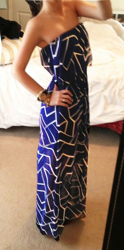 blue and white patterned maxi dress