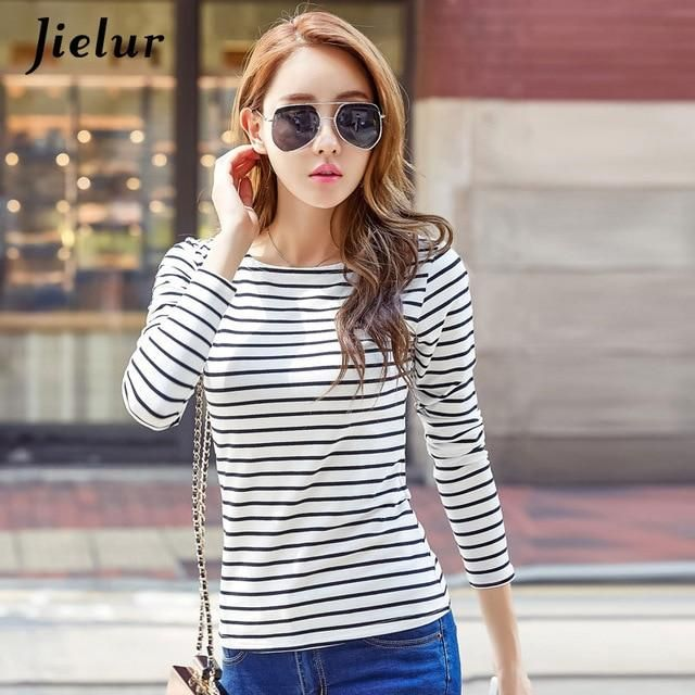 18 S-3Xl Plue Size T Shirt Women Autumn Long Sleeve Stripe Tee Shirt Femme Solid Color Chic Basic Camiseta