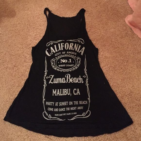 Brandy California tank top! Black razor back tank top with similar to the jack Daniels logo but about California on front! Brandy Melville Tops Tank Tops