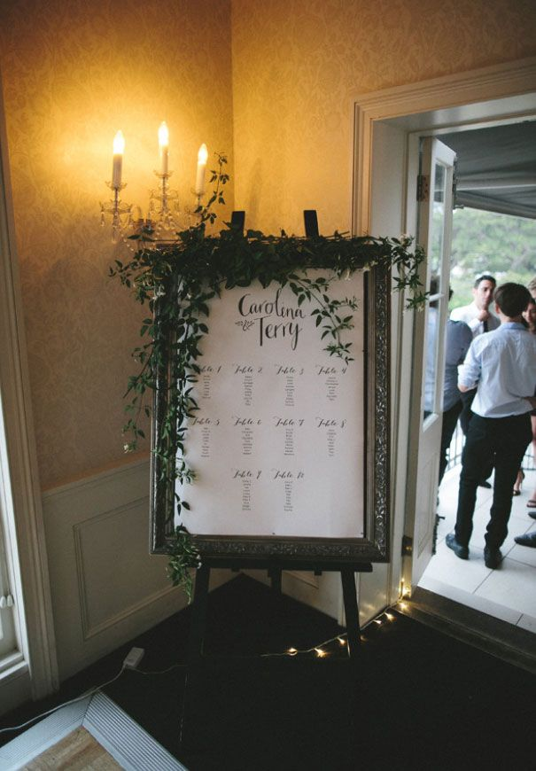 framed list of table assignments