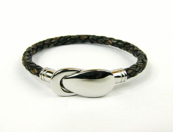 Genuine Braided Leather Bracelet with Stainless by AltGoodDesign