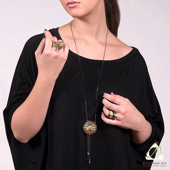 Handmade Long Gold Plated Black Silver Chain Necklace With A Sea Urchin Pendant - Anthos Crafts