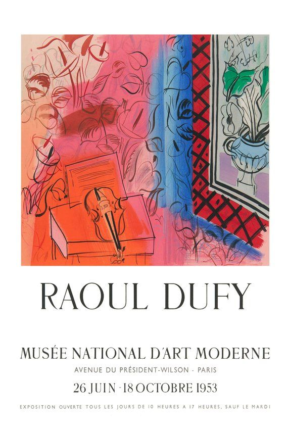 Reprint Of A 1953 Vintage French Exhibition Poster For Works By Dufy En 2020 Artistas A 17 Arte