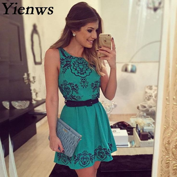 New!! Floral Sleeveless Casual Dress in Blue by Yienws, S-XL