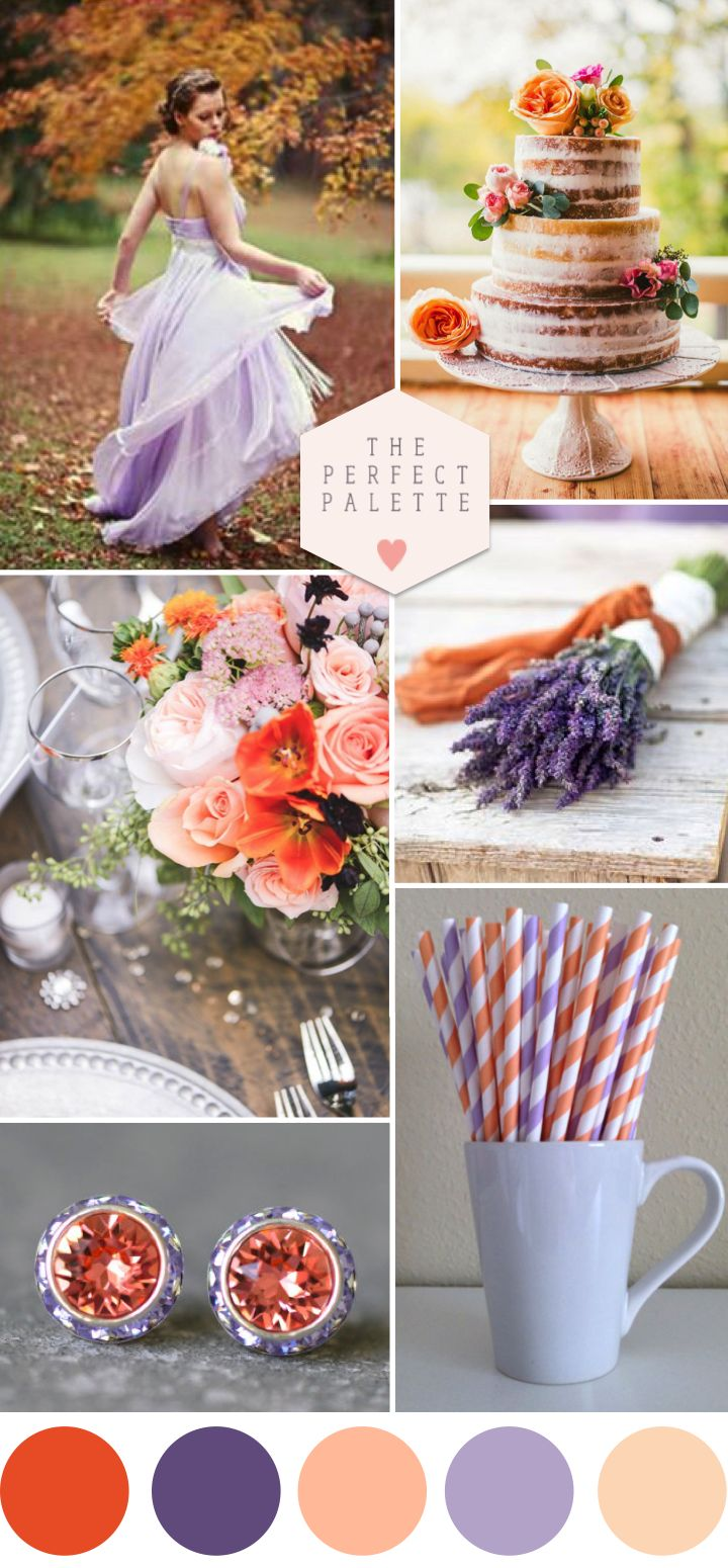 Autumn Sunlight: Peach and Lavender - www.theperfectpalette.com - The Ultimate Wedding Color Blog