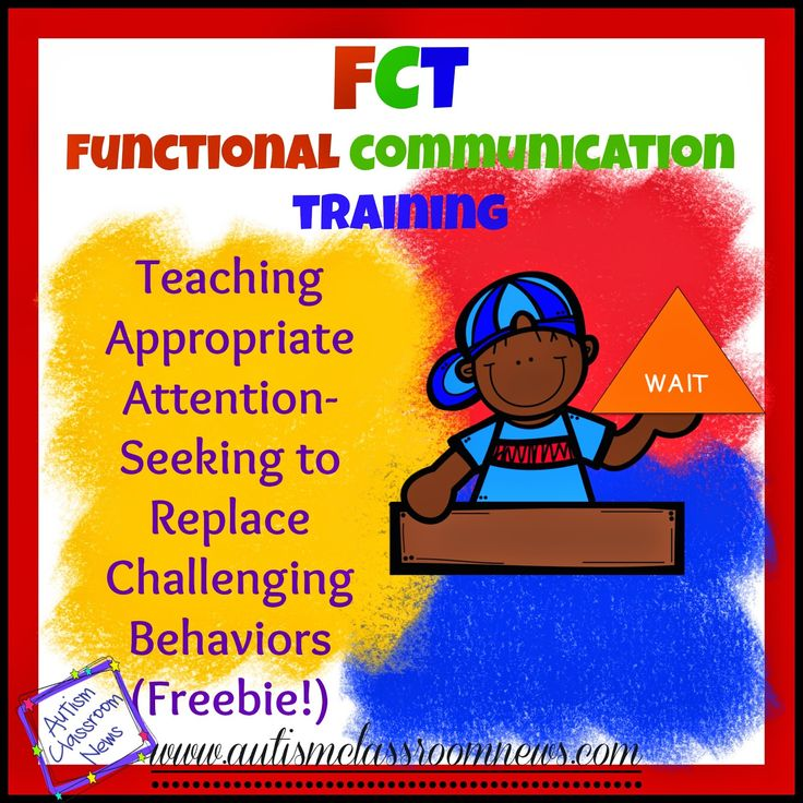 When we talk about replacement behaviors and functional communication training (FCT), the three most common applications are teaching attention seeking, teaching escape behaviors, and teaching requesting items and actions (for the tangible function).  Today I want to talk about how to teach an individual to use an appropriate communicative way to gain attention from others. …