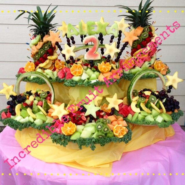 Second Birthday Party Fruit Table  Www.facebook.com/IncredibleFruitArrangements In Houston,Tx