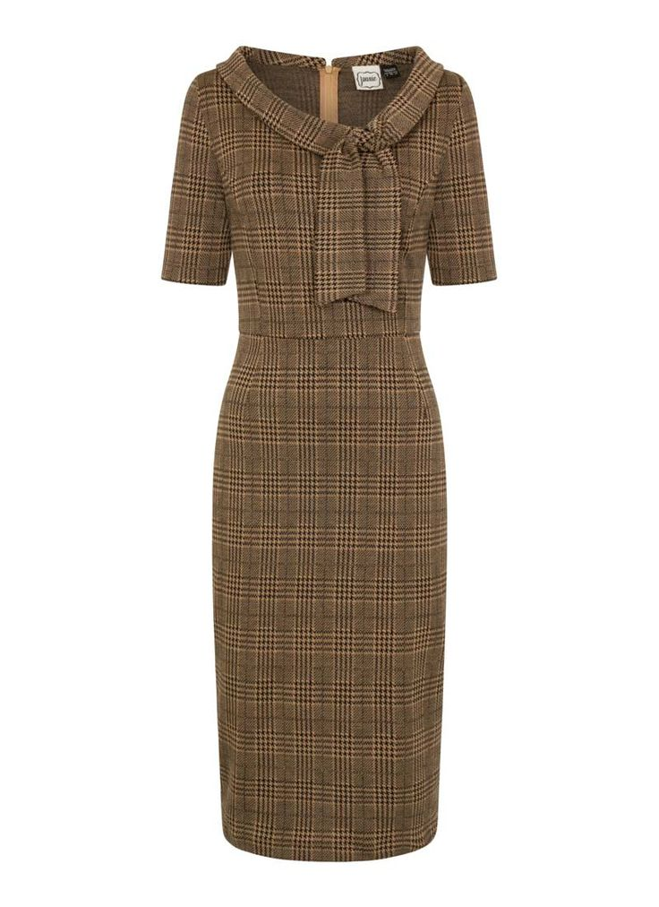 Hendricks Check Stretch Pencil Dress is figure-flattering in a '50s-inspired wiggle shape and zip back, tie detail neck and a classic check design.