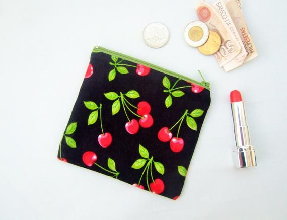 Coin purse or credit card holder in bright cherry fabric, rockabilly christmas gift