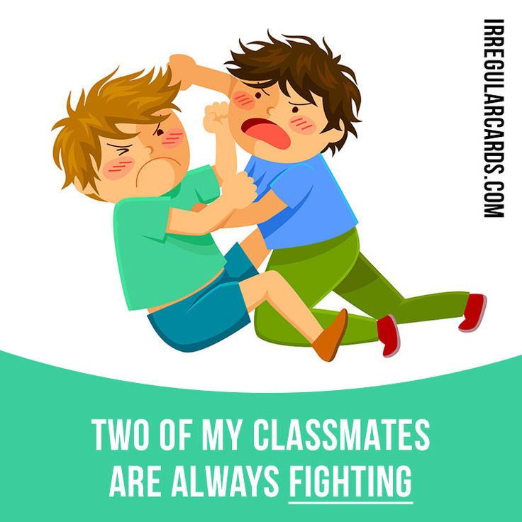 """Fight"" means to use physical force to try to defeat someone. Example: Two of my classmates are always fighting. #irregularverbs #englishverbs #verbs #english #englishlanguage #learnenglish #studyenglish #language #vocabulary #dictionary #efl #esl #tesl #tefl #toefl #ielts #toeic #fight #force"