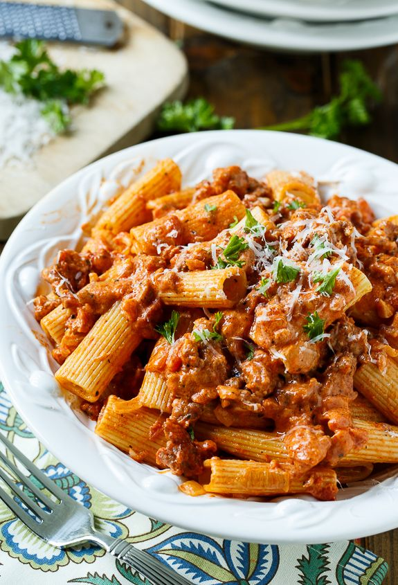 Sausage Rigatoni with Spicy Tomato Sauce