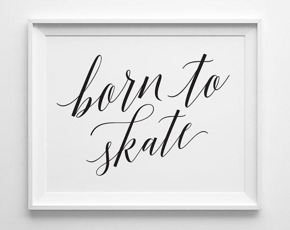 Figure Skating Print, Born to Skate Print, Figure Skating Gifts Ice Skating Gift, Black and White Gi Bärlund Design