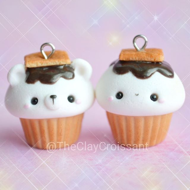 Marshmallow Bear and Marshmallow Cupcakes//@TheClayCroissant